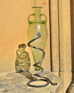 GLASS AMPHORA with FORGED STAND