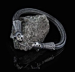 VIKING BRAIDED BANGLE, Borre style, silver 925, 20 g