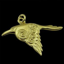 CORVUS Celtic Crow Pendant, 14k gold