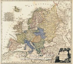 MAP OF EUROPE 1795, Franz Jojan Joseph von Reilly historical map, replica