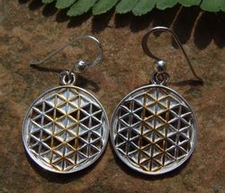 FLOWER MANDALA, silver earrings, gold plated, Ag 925