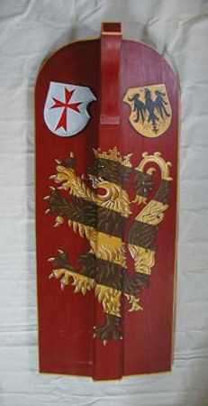 HAND PAINTED PAVISE, long wooden shield IV