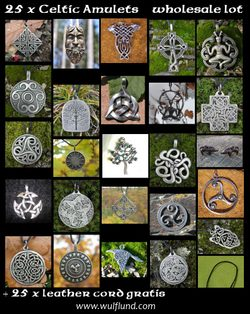 CELTIC TALISMANS, Wholesale Lot of 25 pcs with leather cords