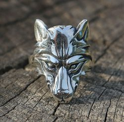 WOLF HEAD, wolf, silver 925 ring