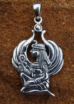 WINGED ISIS, Egyptian Goddess, silver pendant, Ag 925