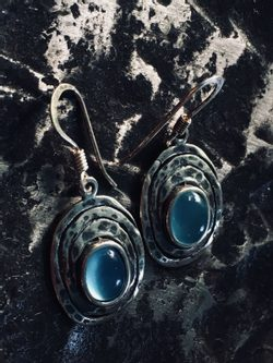 AQUARIUS, sterling silver earrings, blue chalcedony