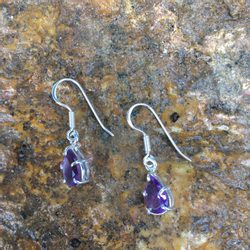 AMETHYST EARRINGS, pear, faceted gems, sterling silver