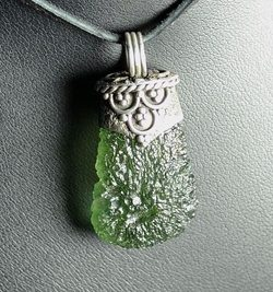 CORPULA, luxury silver jewel with Czech Moldavite, pendant Ag 925