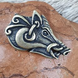 Celtic Boar - head, pendant, zinc - antique brass