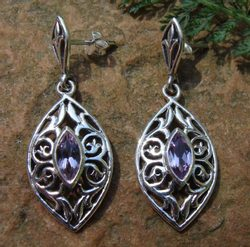 THE VOICE OF NATURE, silver earrings with amethyst, Ag 925