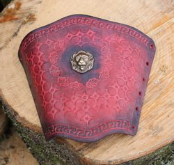 GLADIATOR, red leather bracer - 1 piece