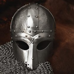 Viking Ocular Helm, 2 mm thick, decorated by hammering
