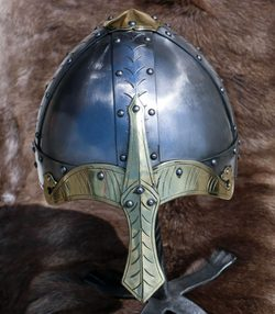 NORMAN HELMET with nasal, brass, de luxe