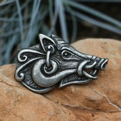 Celtic Boar - head, pendant, zinc