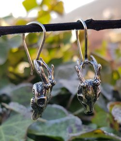 DEER - skull, earrings silver