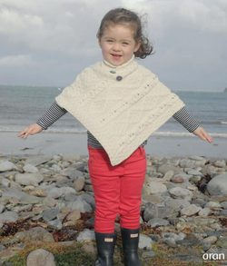 ARAN Poncho for kids, Irish wool