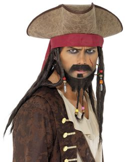 PIRATE HAT AND WIG - costume rental