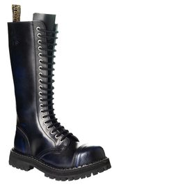 Leather boots STEEL Blue 20-eyelet-shoes