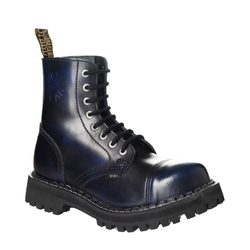 Leather boots STEEL blue 8-eyelet-shoes
