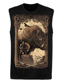 WILD BOAR SPIRIT, sleeveless T-Shirt