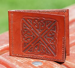 BROWN WALLET with hand carved CELTIC KNOT