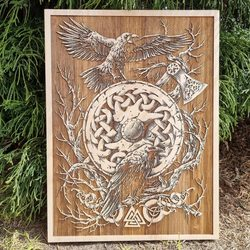 Huginn and Muninn Wall Decoration 30x40 wood