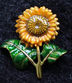 SUNFLOWER, costume brooch with vitrail