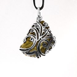 TREE OF LIFE Moldavite, sterling silver pendant
