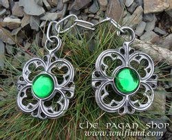 CLOAK PEWTER BROOCH WITH CHAIN, green glass