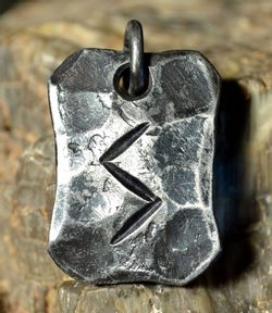 SOWULO, forged iron rune pendant