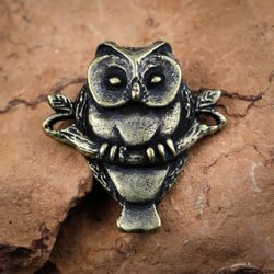 Owl on Branch, amulet, zinc ant. brass