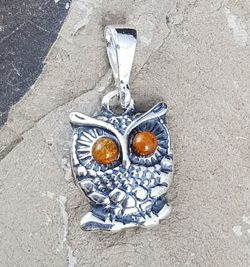 OWL, amber and silver, pendant