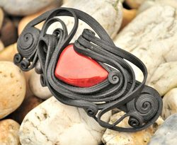 JASPER, red, hair brooch