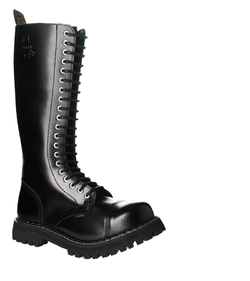 Leather boots STEEL Black 20-eyelet-shoes