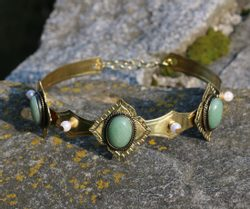 MARIOTA - GOTHIC CROWN with aventurine, 3 stones
