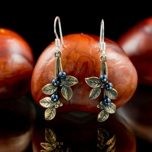 BLUEBERRIES, EARRINGS, BRONZE - COSTUME JEWELLERY{% if kategorie.adresa_nazvy[0] != zbozi.kategorie.nazev %} - JEWELLERY{% endif %}