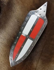HUNGARIAN SHIELD, 15TH CENTURY, RED, WHITE - LIVING HISTORY SHIELDS{% if kategorie.adresa_nazvy[0] != zbozi.kategorie.nazev %} - ARMOUR HELMETS, SHIELDS{% endif %}