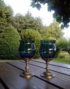 BLUE HUE, GOBLET 150 ML, BLUE GLASS AND PEWTER - HISTORICAL GLASS{% if kategorie.adresa_nazvy[0] != zbozi.kategorie.nazev %} - CERAMICS, GLASS{% endif %}