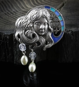 NIGHT FAIRY, ART NOUVEAU, COSTUME BROOCH - COSTUME JEWELLERY{% if kategorie.adresa_nazvy[0] != zbozi.kategorie.nazev %} - JEWELLERY{% endif %}