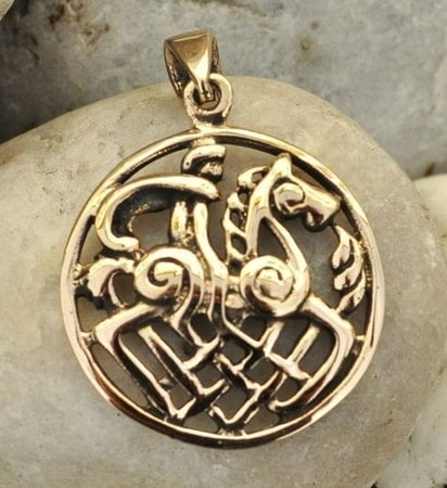 ODIN and SLEIPNIR, bronze pendant