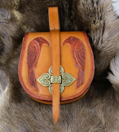 Two Ravens Early Medieval Leather Bag