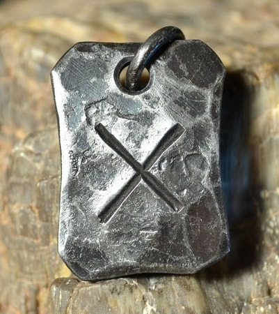 GEBO, forged iron rune pendant