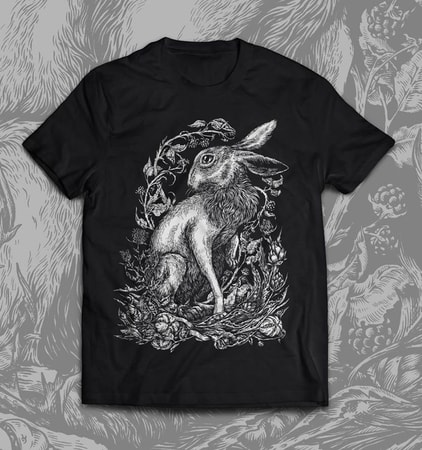 HARE, men's  T-shirt, black, Druid collection