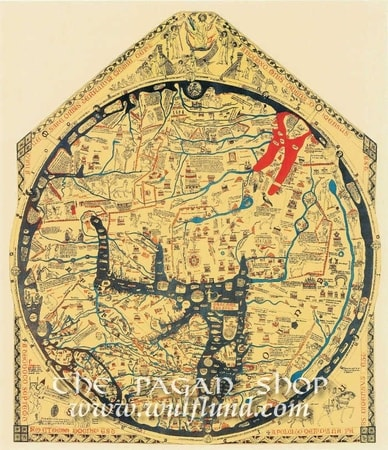 Hereford Mappa Mundi cca 1290, historical map, replica