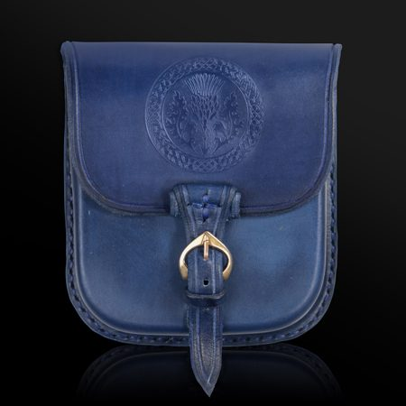 ALBA, SCOTTISH THISTLE, LEATHER BELT BAG - BLUE