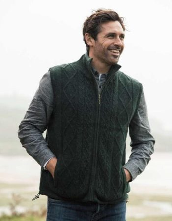 RONAN MEN'S LINED BODY WARMER, IRISH WOOL GREEN