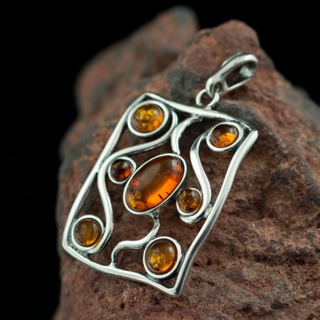 ANKA, pendant, Baltic amber, sterling silver