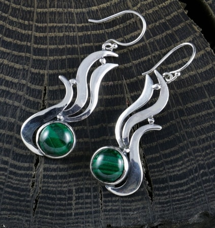 IRIS - Malachite Earrings, sterling silver