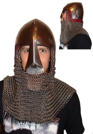 HELMET WITH MOVEABLE NASAL, chainmail