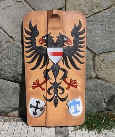 HAND PAINTED PAVISE, LONG WOODEN SHIELD EAGLE